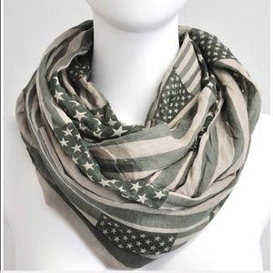 Olive Green American Flag Infinity Scarf